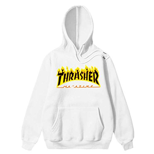 (ThrasherMF Thrasher Skate Mag Flame Hoodies Mens Fashion Casual Loose Sweatshirts White L )