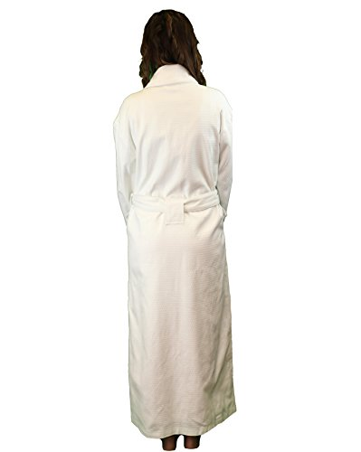 Full-Length Bathrobe - Diamond Jacquard Minx Lined Robe - 100% Cotton - Traditional Shawl Design - 4XL WHITE by Chadsworth & Haig (Image #1)