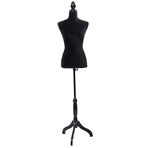 Giantex Female Mannequin Torso Body Dress Form with Black Adjustable Tripod Stand, 51.2''-66.2'' Adjustable Height Non-Straight Pinnable for Pants Clothing Dress Jewelry Display (Black)