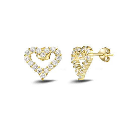Earrings Studded Large Heart (Carleen Yellow Gold Plated 925 Sterling Silver CZ Cubic Zirconia Open Heart Stud Earrings For Women Girls)