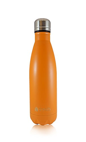 STASIS 17 Oz (500 ml) Stainless Steel Vacuum Insulated Water Bottle - Keeps Drinks Hot & Cold for Hours Without Sweating (Orange)