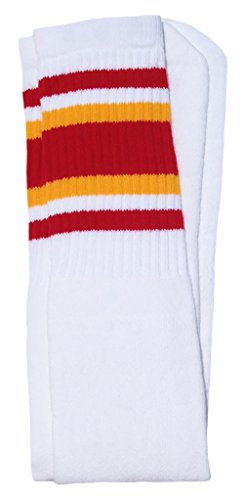 Skater Socks 30'' Over the knee White tube socks with Red-Gold stripes style 4 by SKATERSOCKS
