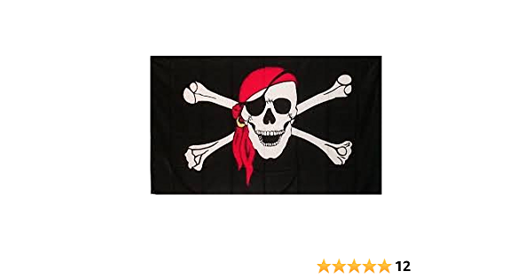 "NEW 6 ft Red Pirate Skull with 5//16/"" Whip Flag Pole /& Mounting Bolt ATV Rhino"