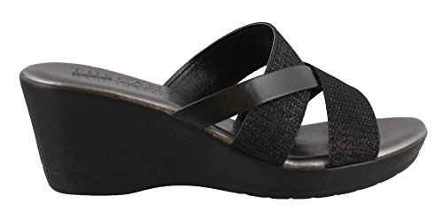 Easy Street Mid Heel Sandals - Easy Street Women's Tuscany by, Berenice Mid Heel Wedge Sandals Black Glitter 7.5 M