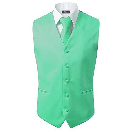 3 Pcs Vest + Tie + Hankie Men's Fashion Formal Dress Suit Slim Tuxedo Waistcoat Coat (Medium, Lime Green)