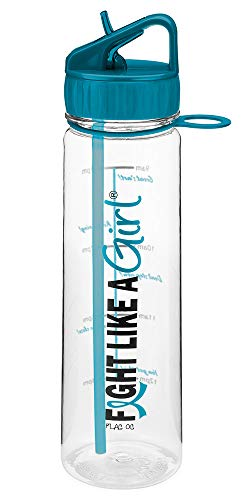 Fight Like a Girl Slimkim II Water Sports Workout Bottle Motivational Time Marker with Measurement Goals - Teal (Assorted Colors)