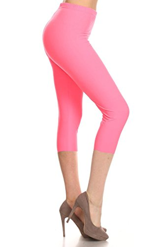 Leggings Depot Women's Popular Basic Capri Cropped Regular and Plus Solid High Waist Leggings (Regular (Size 0-12), Neon (Solid Pink Leggings)