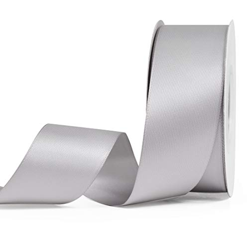 Double Satin Bow - YAMA Double Face Satin Ribbon - 1 1/2 Inch 25 Yards for Gift Wrapping Ribbons Roll, Silver