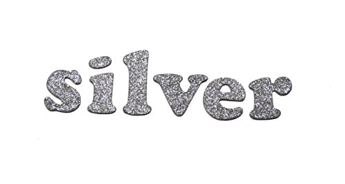 (Silver Metallic Glitter HandCut Chipboard Letters Alphabet set Sickers 1.5