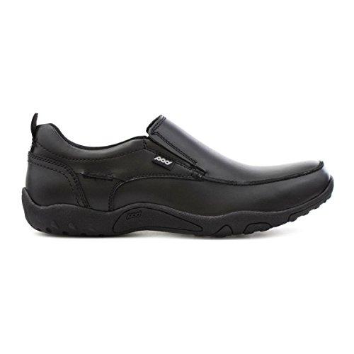 Pod Mens Zwart Gecoate Lederen Slip Op Schoen Zwart