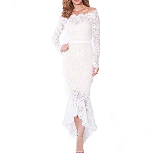 (COSYOU Women Dress Elegant White Dress Femme Lace Party Dress Vintage Sexy Dress Slash Neck Lady Trumpet Vestido Summer (White, L))