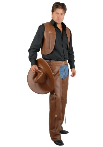 (Charades Women's Faux-Leather Chaps and Vest, Brown,)