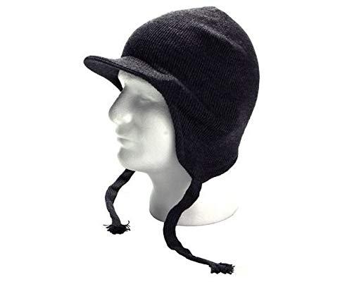 (MB-Sportstar Warm Knit Visor Earflap Winter Beanie Ski Hat Cap Skull for Men and Women. (Gray))