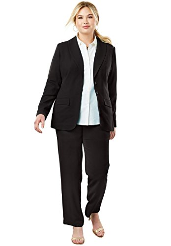 Size Plus Womens Suits Pant (Jessica London Women's Plus Size Single Breasted Pant Suit Black,18 W)