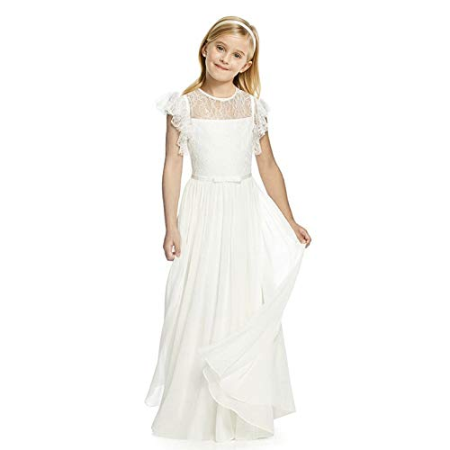 Girls Holy Communion Dress (AbaoSisters Flutter Sleeves A-line Flower Girl Dress Ivory Size)
