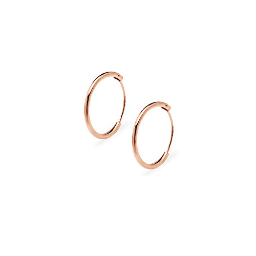 Sterling Silver 14mm Rose Ring (Endless Hoop Earrings Sterling Silver – Rose Gold Flashed 14mm x 1mm Silverline Jewelry)