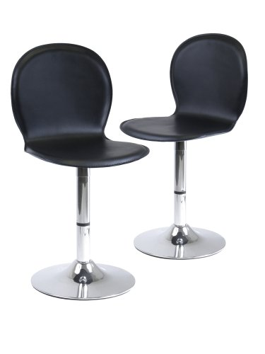 Winsome Wood S/2 Metal/Faux Leather Swivel Chairs 93220