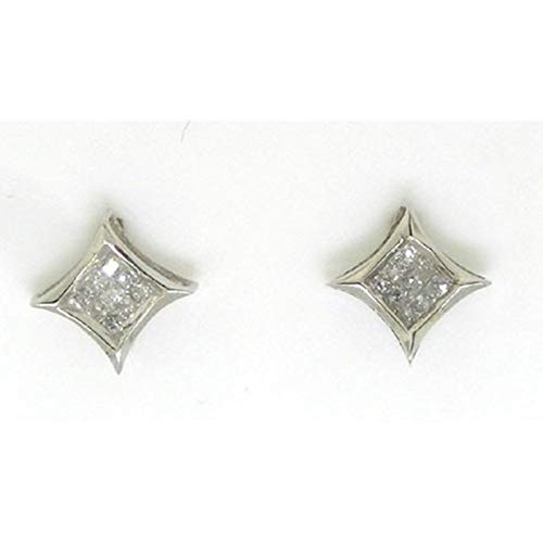 Aienid 14Kt White Gold 0.15Ct Princess Diamond Ladies Invisible Earrings for Women ()