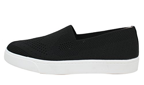 Soda Womens Knitted White Rubber Sole Loafer Slip on, Black, 11 M US