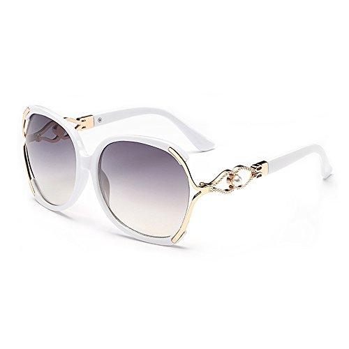 (BVAGSS Sunglasses Women Oversized Fashion UV Protection WS008 (White Frame, Gray Lens))