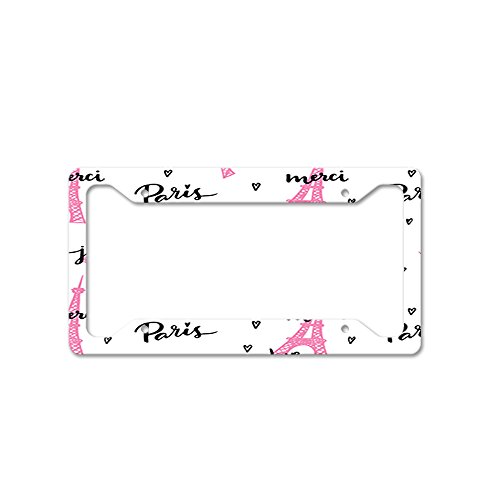 Love Paris Je Taime Merci Auto Car License Plate Frame Tag Holder 4 Hole