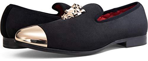 Pictures of JOUSEN Men's Velvet Loafers Gold Buckle velvet men loafer slip on 3