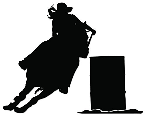 (Barrel Racer Horse Cowboy Vinyl Decal Sticker For Vehicle Car Truck Window Bumper Wall Decor - [10 inch/25 cm Wide] - Matte BLACK Color)