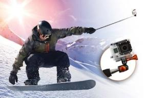 XShot Pro used with GoPro when snowboarding, skateboarding, or surfing.