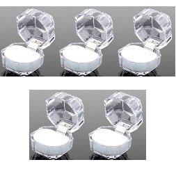 クリスタルカラー クリアー ジュエリーボックス クッション色:白 5個セット ジュエリーケース アクセサリーケース