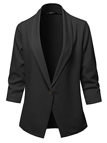 SSOULM Women's 3/4 Sleeve Lightweight Work Office One Button Blazer Jacket Black ()