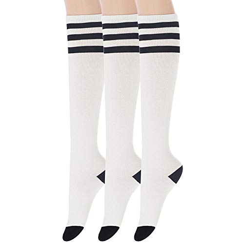 - Sockstheway Womens Casual Knee High Tube Socks with Triple Stripes (3Pairs, White)