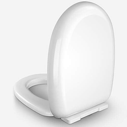 衝突防止バンパー付きの家庭用便座、静かな閉じた座席、クイック取り付けアクセサリー、厚いPP素材、掃除が簡単、快適な座席、白
