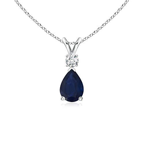 (Blue Sapphire Teardrop Pendant with Diamond in Platinum (7x5mm Blue Sapphire) )