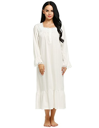 Ekouaer Sleepshirts Womens Long Sleep Wear Dress Comfy Victorian Nightgown S-XXL