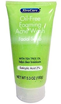 Free Oil Oil (XtraCare OIL FREE FOAMING ACNE WASH Facial Scrub 5.3 oz. with Tea Tree Oil (Pack of 2))