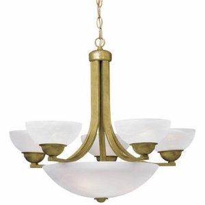 - Dolan Designs 208-09 Fireside 8 Light Bowl Chandelier, Satin Nickel