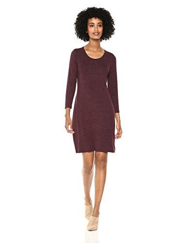 Amazon Brand - Daily Ritual Women's Jersey 3/4-Sleeve Scoop-Neck T-Shirt Dress, Purple Heather, Medium (Shirt Dress Rayon)