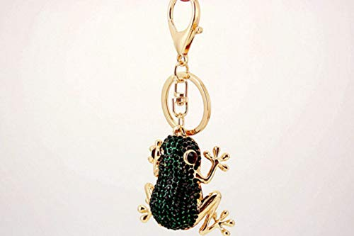 1 Set Riches Money Toad Frog Crystal Gold Rhine Stone Keychains Lover Pendants Teenagers Fur Rabbit Utility Tool Key Fob Excellently Popular Pocket Bag Car Keyring