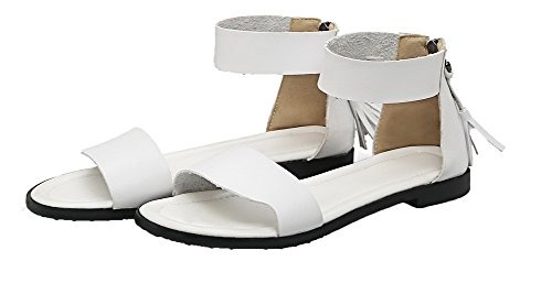 Unie Sandales à Ouverture Couleur Blanc d'orteil Femme Talon CCAFLO015500 Zip VogueZone009 Bas OqXxzw