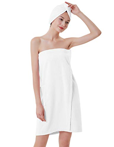 Microfiber Women's Spa Wrap Towel Bath Towel with Snap Closure White M