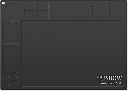 BTSHOW ESD Mat 10 6-10 8 ohms Resistivity, Anti-Static Soldering Mat Heat Resistant 932 F, Static Dissipative Desktop Repair Mat for Electronics Laptop,13.8 x 9.8 ESD Black