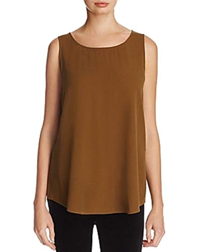 Eileen Fisher SERPENTIN Silk Georgette Crepe Ballet Neck Long Shell Tank Size XL MSRP 198