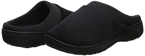 isotoner Women's Terry and Satin Slip On Cushioned Slipper with Memory Foam for Indoor/Outdoor Comfort