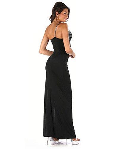 PU&PU Robe Aux femmes Moulante Sexy / Soirée Une Epaule Maxi Lycra , black-one-size , black-one-size