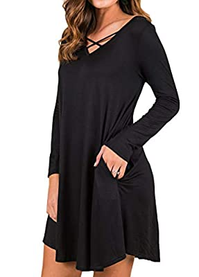 QIXING Women's Criss Cross Casual Dress Long Sleeve Swing Hem V-Neck Sexy T-Shirt Dresses with Pockets