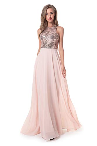Beauty Kai Women's Long Formal Sequin Chiffon Evening Prom Dress (Medium, Rose Gold/Blush)