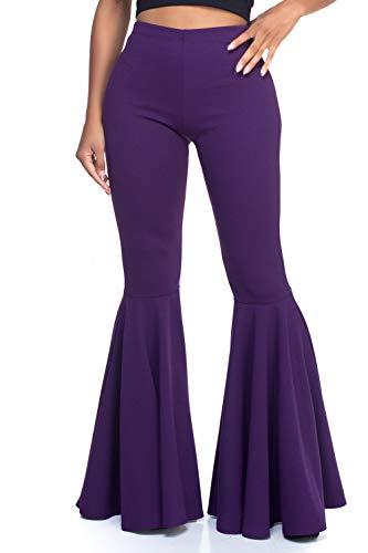 Women's Junior Plus J2 Love Mermaid Ruffle Flare Pants, 2X, Plum (Belly Dance Pants Size Plus)