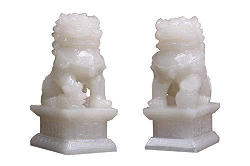 JianYia Pair of White Fu Foo Dogs Guardian Lion Statues