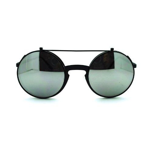Metal Frame Flip Up Retro Keyhole Steam Punk 80s Sunglasses Black Silver