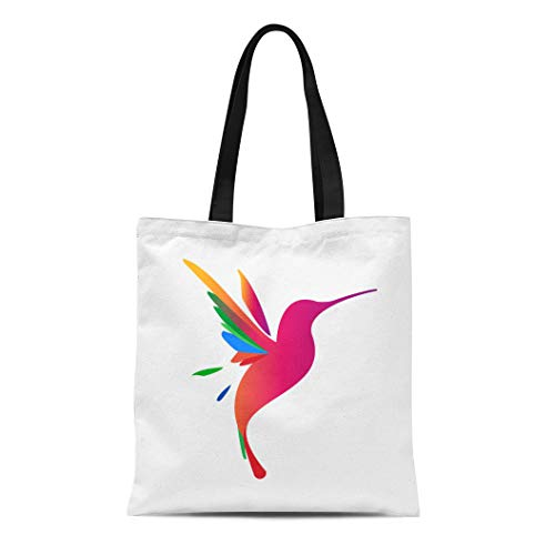 Semtomn Canvas Tote Bag Shoulder Bags Blue Hummingbird Flying Colibri for Education and Natural Company Women's Handle Shoulder Tote Shopper Handbag ()